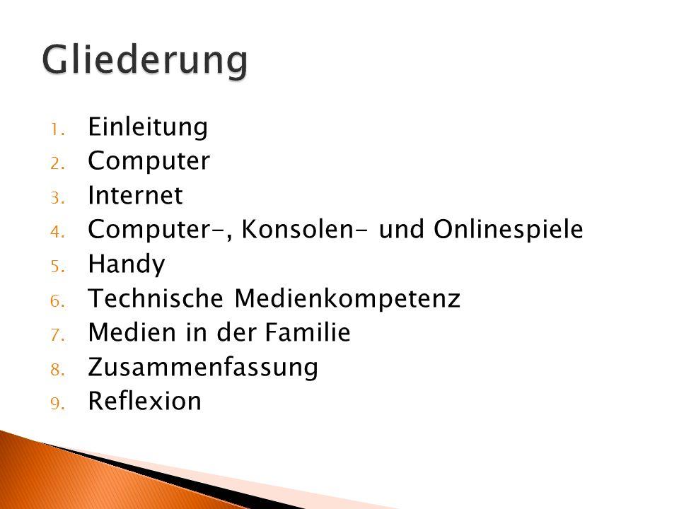 1.Einleitung 2. Computer 3. Internet 4. Computer-, Konsolen- und Onlinespiele 5.