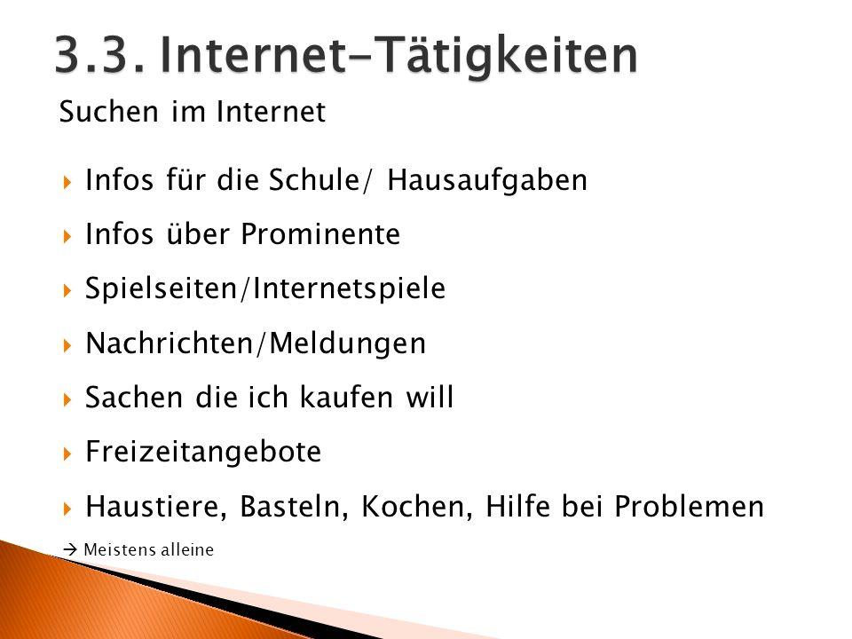 3.3. Internet-Tätigkeiten Infos für die Schule/ Hausaufgaben Infos über Prominente Spielseiten/Internetspiele Nachrichten/Meldungen Sachen die ich kau