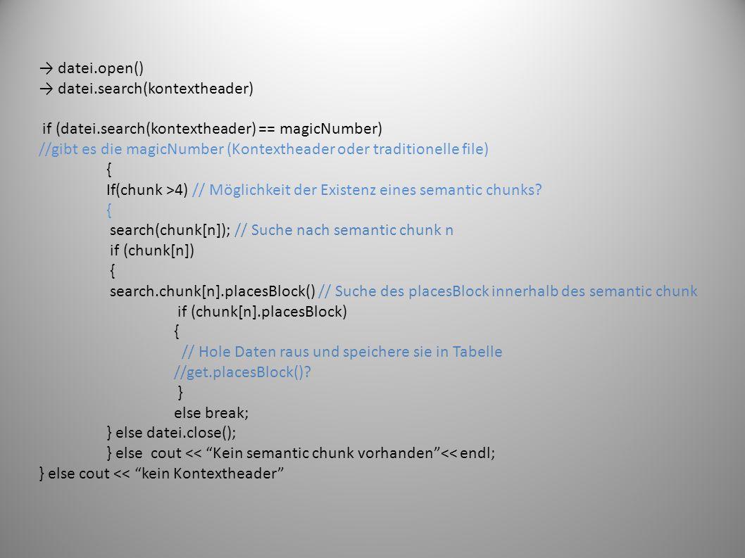 datei.open() datei.search(kontextheader) if (datei.search(kontextheader) == magicNumber) //gibt es die magicNumber (Kontextheader oder traditionelle file) { If(chunk >4) // Möglichkeit der Existenz eines semantic chunks.