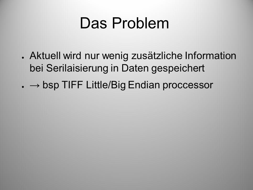 Das Problem Aktuell wird nur wenig zusätzliche Information bei Serilaisierung in Daten gespeichert bsp TIFF Little/Big Endian proccessor
