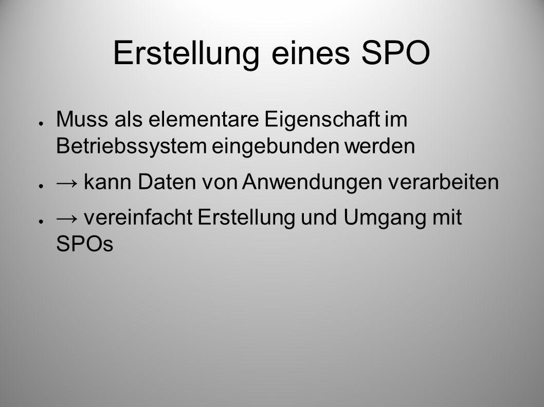 Erstellung eines SPO Muss als elementare Eigenschaft im Betriebssystem eingebunden werden kann Daten von Anwendungen verarbeiten vereinfacht Erstellun