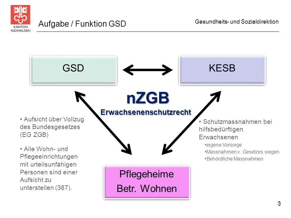 Gesundheits- und Sozialdirektion GSD KESB Pflegeheime Betr. Wohnen Pflegeheime Betr. Wohnen Aufgabe / Funktion GSD Aufsicht über Vollzug des Bundesges