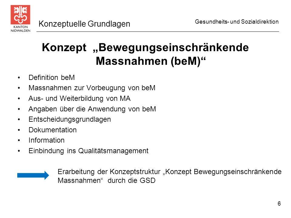 Gesundheits- und Sozialdirektion Gesetzliche Bestimmungen / Dokumente Gesetzliche Bestimmungen bei urteilsunfähigen Personen Schriftlicher Betreuungsvertrag (382) Schriftlicher Behandlungsplan (377) Meldepflicht / Kontaktförderung (386) Informationspflicht betroffene und vertretungsberechtigte Personen (383/385) Einschränkung der Bewegungsfreiheit (383) Protokollpflicht beM (384) Einsichtsrecht (384) Beschwerderecht (385) Ziel: Eine einheitliche Erarbeitung der notwendigen, heiminternen Merkblättern, Reglemente oder ähnliches durch eine Arbeitsgruppe.