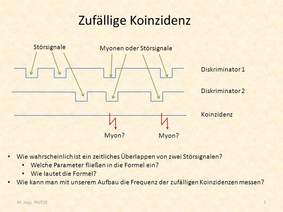 M. Joos, PH/ESE5 Zufällige Koinzidenz Diskriminator 1 Diskriminator 2 Koinzidenz Störsignale Myonen oder Störsignale Myon? Wie wahrscheinlich ist ein