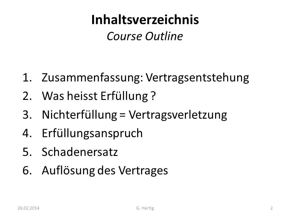Inhaltsverzeichnis Course Outline 1.Zusammenfassung: Vertragsentstehung 2.Was heisst Erfüllung ? 3.Nichterfüllung = Vertragsverletzung 4.Erfüllungsans