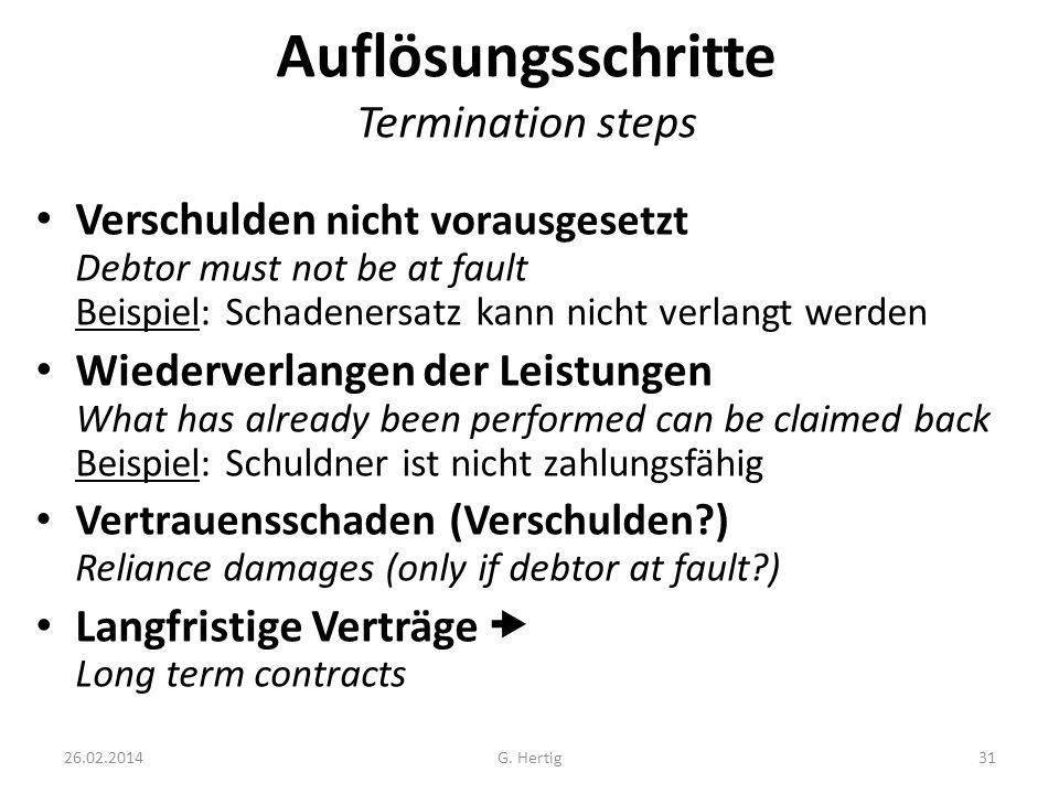 26.02.2014 Auflösungsschritte Termination steps Verschulden nicht vorausgesetzt Debtor must not be at fault Beispiel: Schadenersatz kann nicht verlang