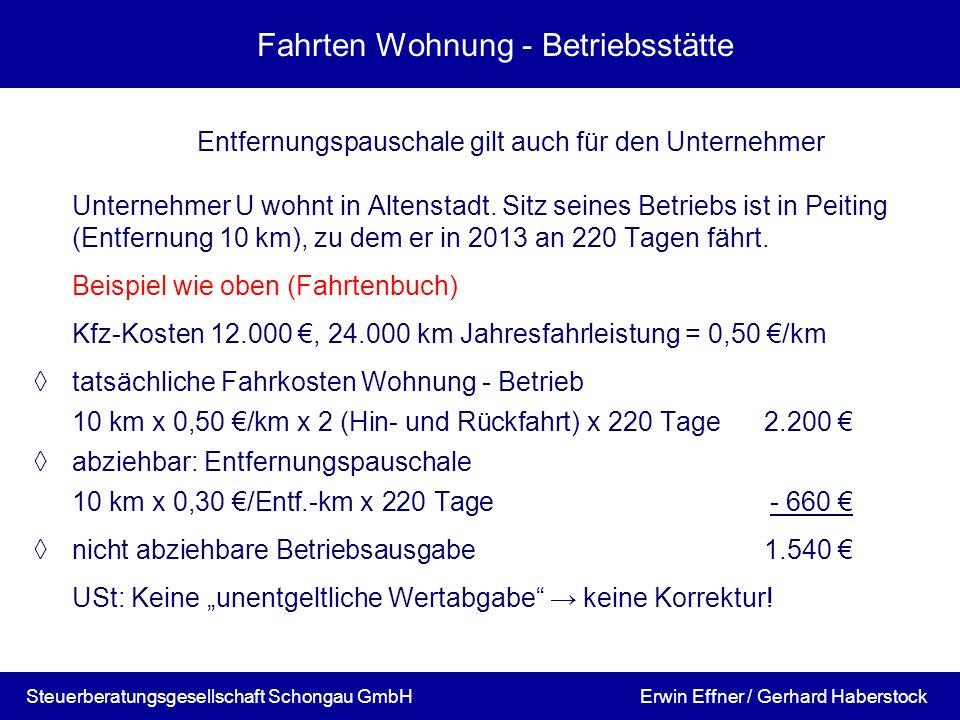 Fahrten Wohnung - Betriebsstätte Entfernungspauschale gilt auch für den Unternehmer Unternehmer U wohnt in Altenstadt. Sitz seines Betriebs ist in Pei