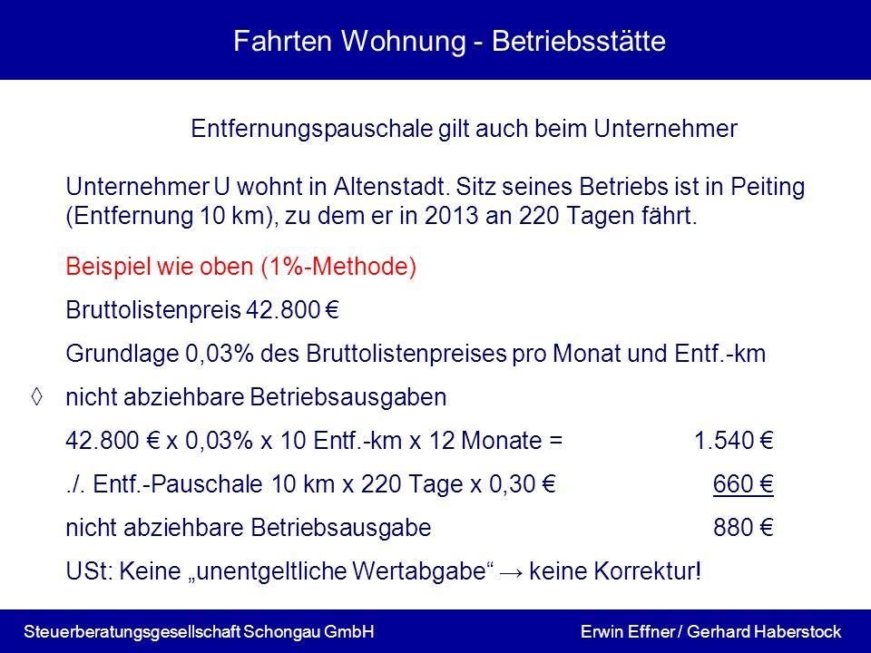 Fahrten Wohnung - Betriebsstätte Entfernungspauschale gilt auch beim Unternehmer Unternehmer U wohnt in Altenstadt. Sitz seines Betriebs ist in Peitin