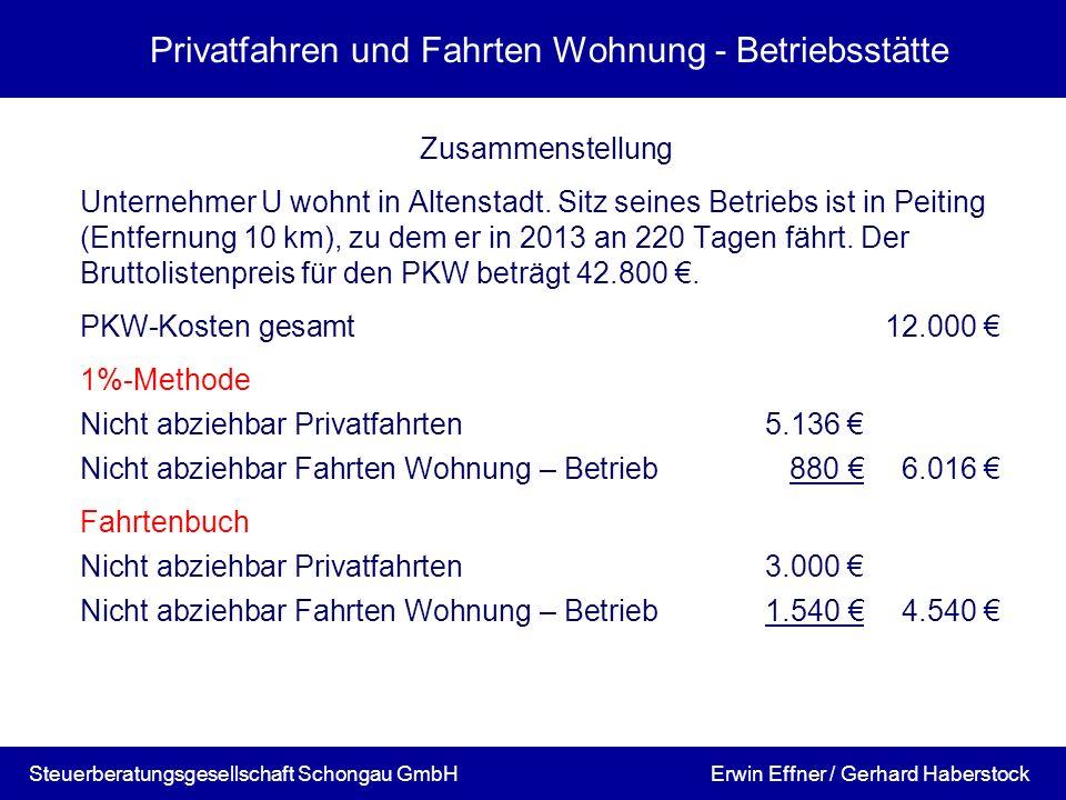 Privatfahren und Fahrten Wohnung - Betriebsstätte Zusammenstellung Unternehmer U wohnt in Altenstadt. Sitz seines Betriebs ist in Peiting (Entfernung