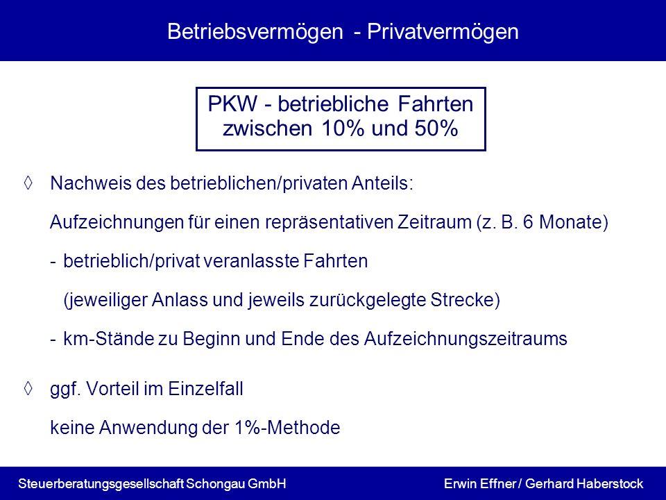 Betriebsvermögen - Privatvermögen Nachweis des betrieblichen/privaten Anteils: Aufzeichnungen für einen repräsentativen Zeitraum (z. B. 6 Monate) -bet