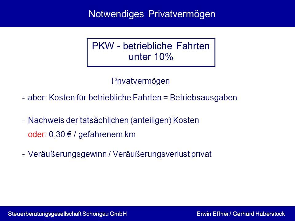 Notwendiges Privatvermögen Privatvermögen -aber: Kosten für betriebliche Fahrten = Betriebsausgaben -Nachweis der tatsächlichen (anteiligen) Kosten od