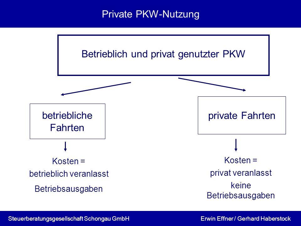 Steuerberatungsgesellschaft Schongau GmbH Private PKW-Nutzung Betrieblich und privat genutzter PKW betriebliche Fahrten Kosten = betrieblich veranlass