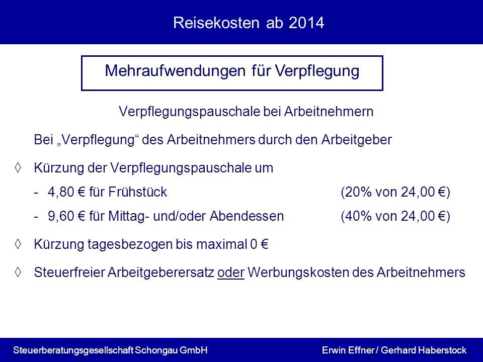 Reisekosten ab 2014 Verpflegungspauschale bei Arbeitnehmern Bei Verpflegung des Arbeitnehmers durch den Arbeitgeber Kürzung der Verpflegungspauschale
