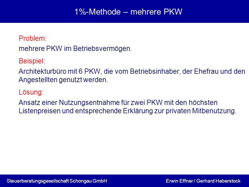 1%-Methode – mehrere PKW Problem: mehrere PKW im Betriebsvermögen. Beispiel: Architekturbüro mit 6 PKW, die vom Betriebsinhaber, der Ehefrau und den A