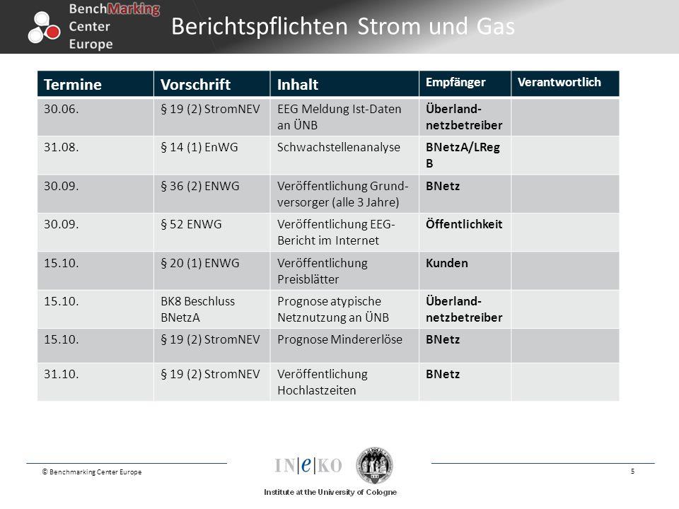 © Benchmarking Center Europe 5 Berichtspflichten Strom und Gas TermineVorschriftInhalt EmpfängerVerantwortlich 30.06.§ 19 (2) StromNEVEEG Meldung Ist-