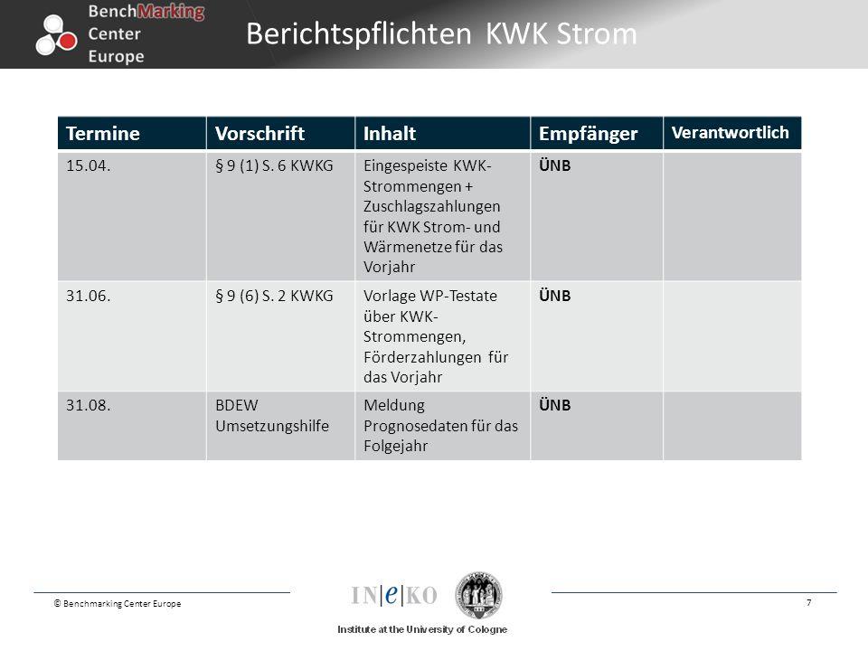 © Benchmarking Center Europe 7 TermineVorschriftInhaltEmpfänger Verantwortlich 15.04.§ 9 (1) S. 6 KWKGEingespeiste KWK- Strommengen + Zuschlagszahlung