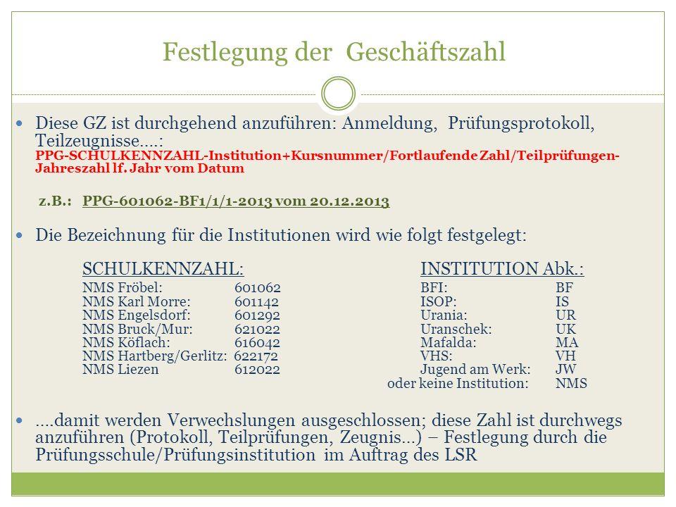 Festlegung der Geschäftszahl Diese GZ ist durchgehend anzuführen: Anmeldung, Prüfungsprotokoll, Teilzeugnisse….: PPG-SCHULKENNZAHL-Institution+Kursnum