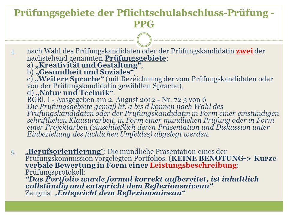 Prüfungsgebiete der Pflichtschulabschluss-Prüfung - PPG 4. nach Wahl des Prüfungskandidaten oder der Prüfungskandidatin zwei der nachstehend genannten