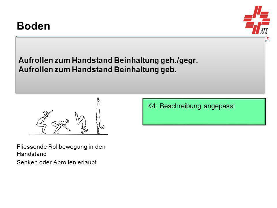 Fliessende Rollbewegung in den Handstand Senken oder Abrollen erlaubt
