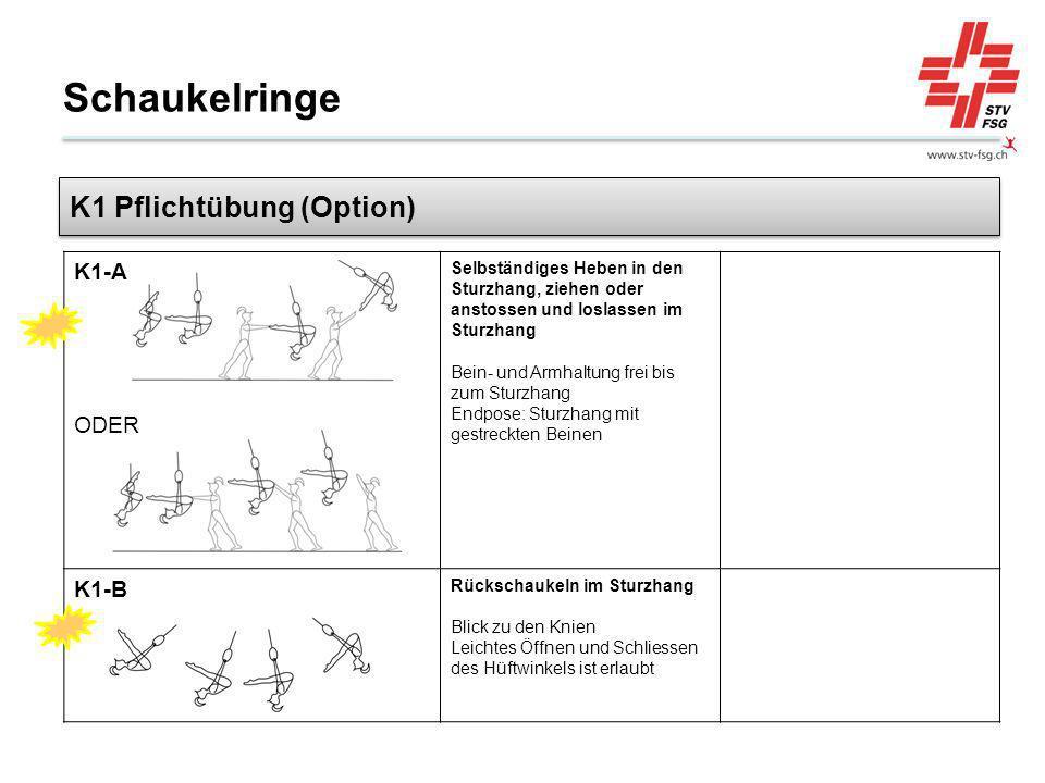 Schaukelringe K1-A ODER Selbständiges Heben in den Sturzhang, ziehen oder anstossen und loslassen im Sturzhang Bein- und Armhaltung frei bis zum Sturz