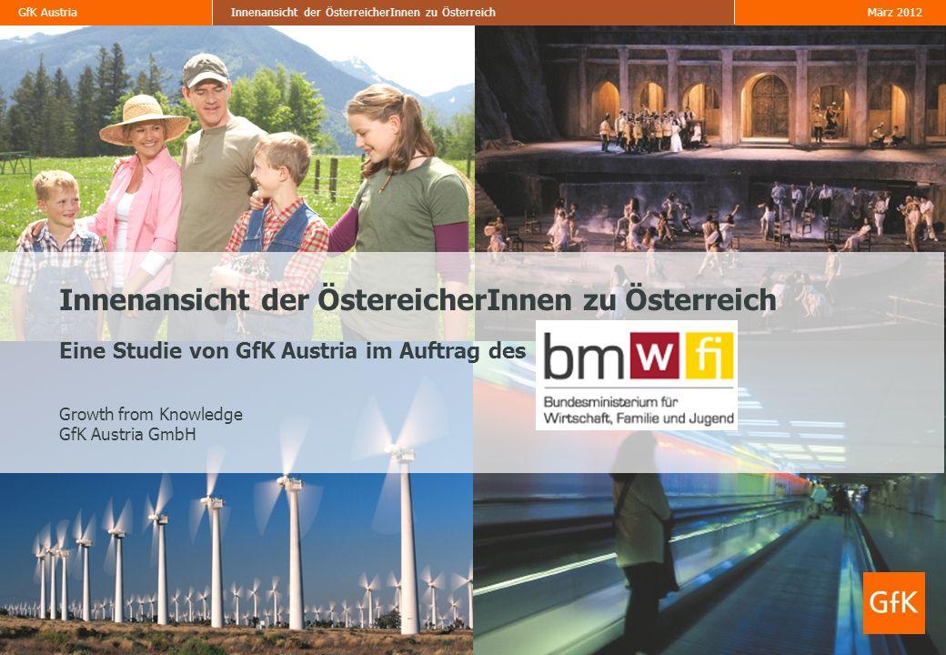 GfK Austria März 2012Innenansicht der ÖsterreicherInnen zu Österreich Daten zur Untersuchung Befragungsgebiet Österreich Grundgesamtheit Österreichische Bevölkerung ab 18 Jahren Befragungszeitraum 29.11.