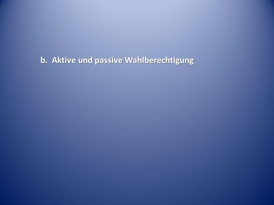 b. Aktive und passive Wahlberechtigung