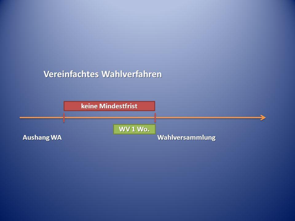 Vereinfachtes Wahlverfahren Aushang WA keine Mindestfrist Wahlversammlung WV 1 Wo.