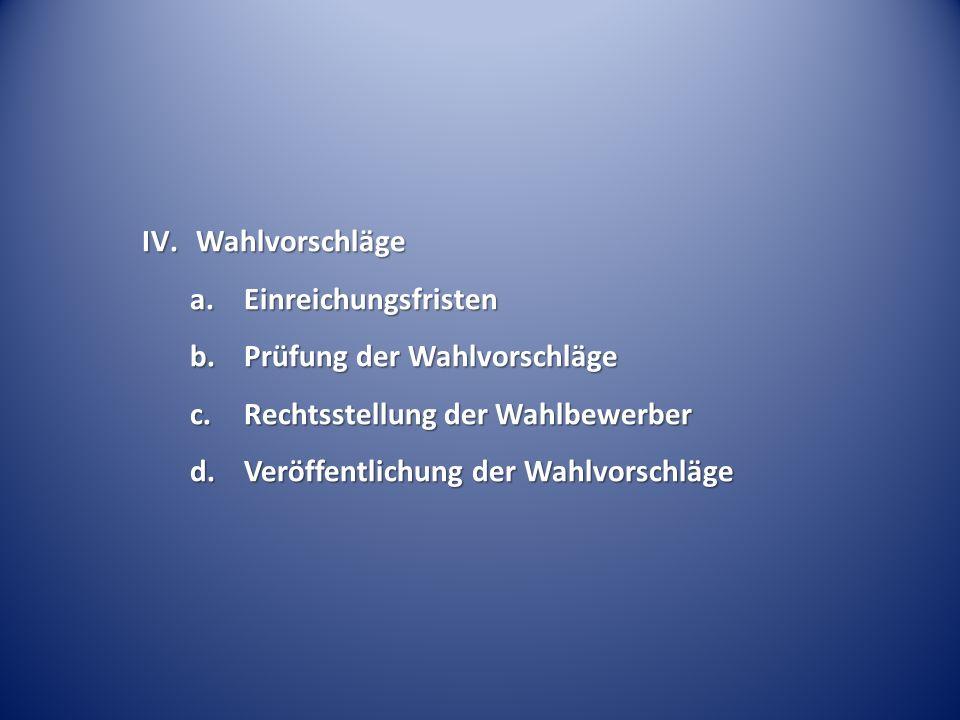 IV.Wahlvorschläge a.Einreichungsfristen b.Prüfung der Wahlvorschläge c.Rechtsstellung der Wahlbewerber d.Veröffentlichung der Wahlvorschläge