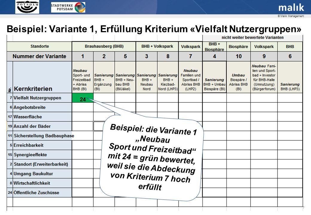 Seite 17 © Malik Management Beispiel: die Variante 1 Neubau Sport und Freizeitbad mit 24 = grün bewertet, weil sie die Abdeckung von Kriterium 7 hoch erfüllt Beispiel: Variante 1, Erfüllung Kriterium «Vielfalt Nutzergruppen»