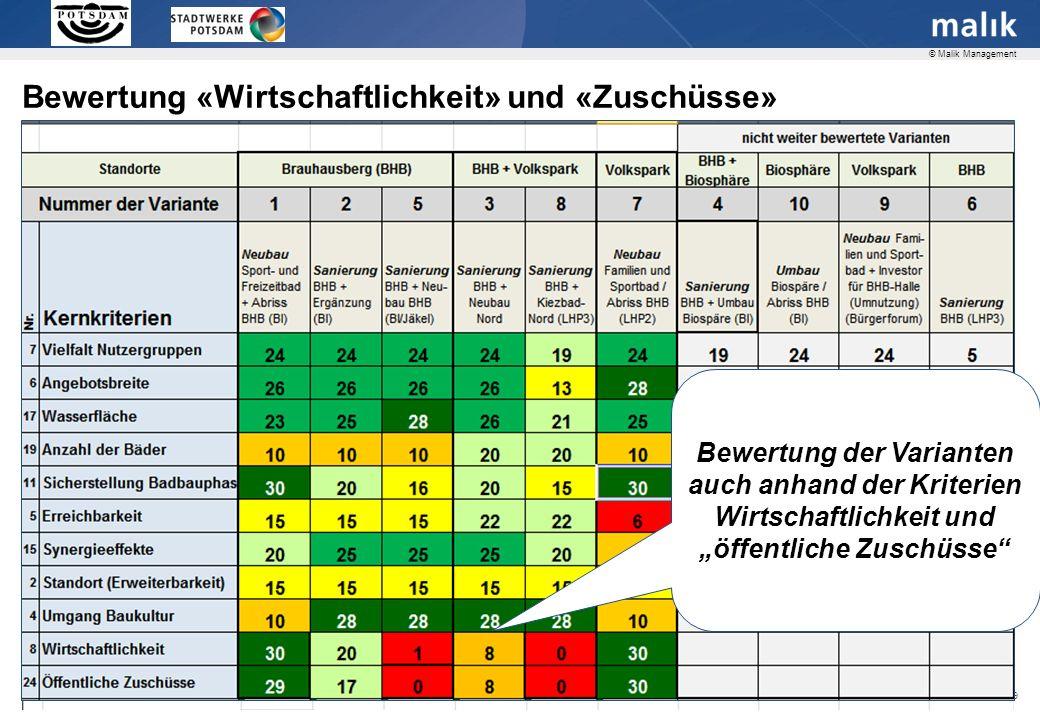 Seite 29 © Malik Management Bewertung «Wirtschaftlichkeit» und «Zuschüsse» Bewertung der Varianten auch anhand der Kriterien Wirtschaftlichkeit und öffentliche Zuschüsse