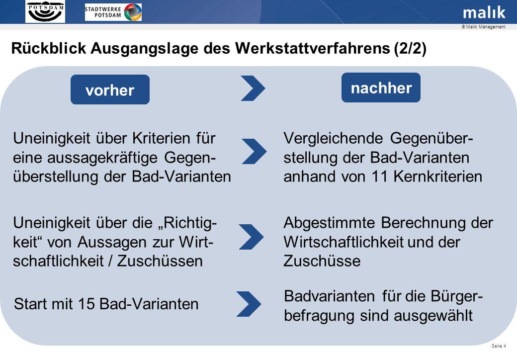 Seite 25 © Malik Management Bewertungen der Varianten 1, 2, 5, 3, 8, 7 Die Varianten zeigen z.T.