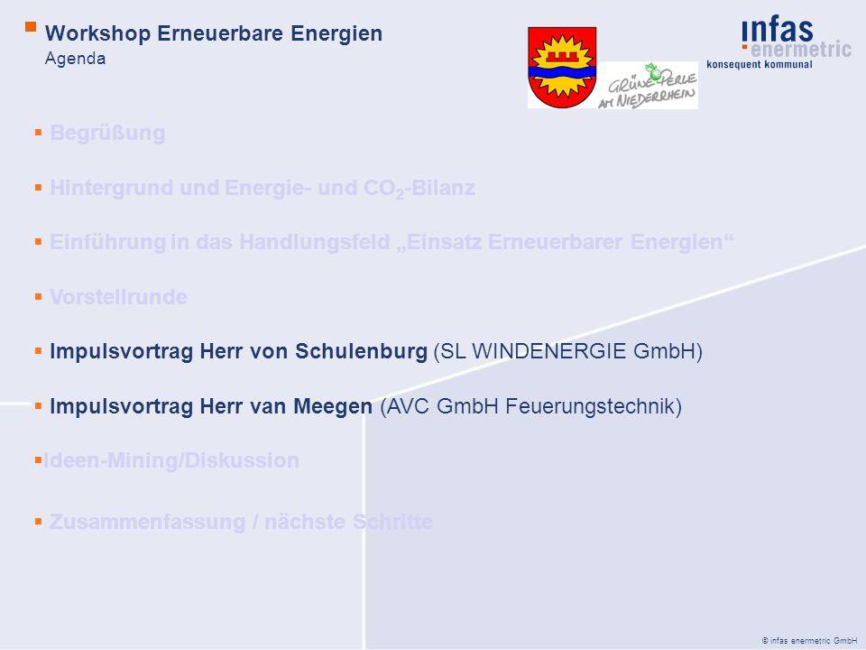 © infas enermetric GmbH Agenda Begrüßung Hintergrund und Energie- und CO 2 -Bilanz Einführung in das Handlungsfeld Einsatz Erneuerbarer Energien Vorst
