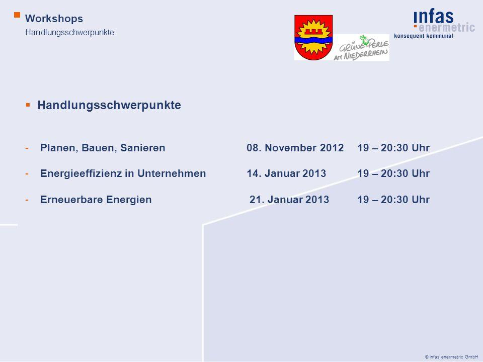 © infas enermetric GmbH Handlungsschwerpunkte Workshops Handlungsschwerpunkte -Planen, Bauen, Sanieren08. November 2012 19 – 20:30 Uhr -Energieeffizie