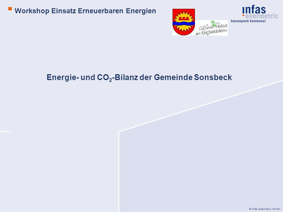 © infas enermetric GmbH Integriertes Klimaschutzkonzept Workshop Einsatz Erneuerbare Energien BSP.: Betrachtung der Windpotenziale -derzeit rechtskräftiger Flächennutzungsplan -ausgewiesenen Windkraftkonzentrationszonen -Anlagenstandorte -Tabuflächen (NSG, Gewässer, etc.) -Planungsgrundlagen vom RVR -Ausschusskriterien (Tabuflächen) -Einzelfallprüfbereiche -Potenzialstudie Erneuerbare Energien NRW, Teil I – Windenergie (LANUV) -technische Potenziale -Windfeld -Szenarien