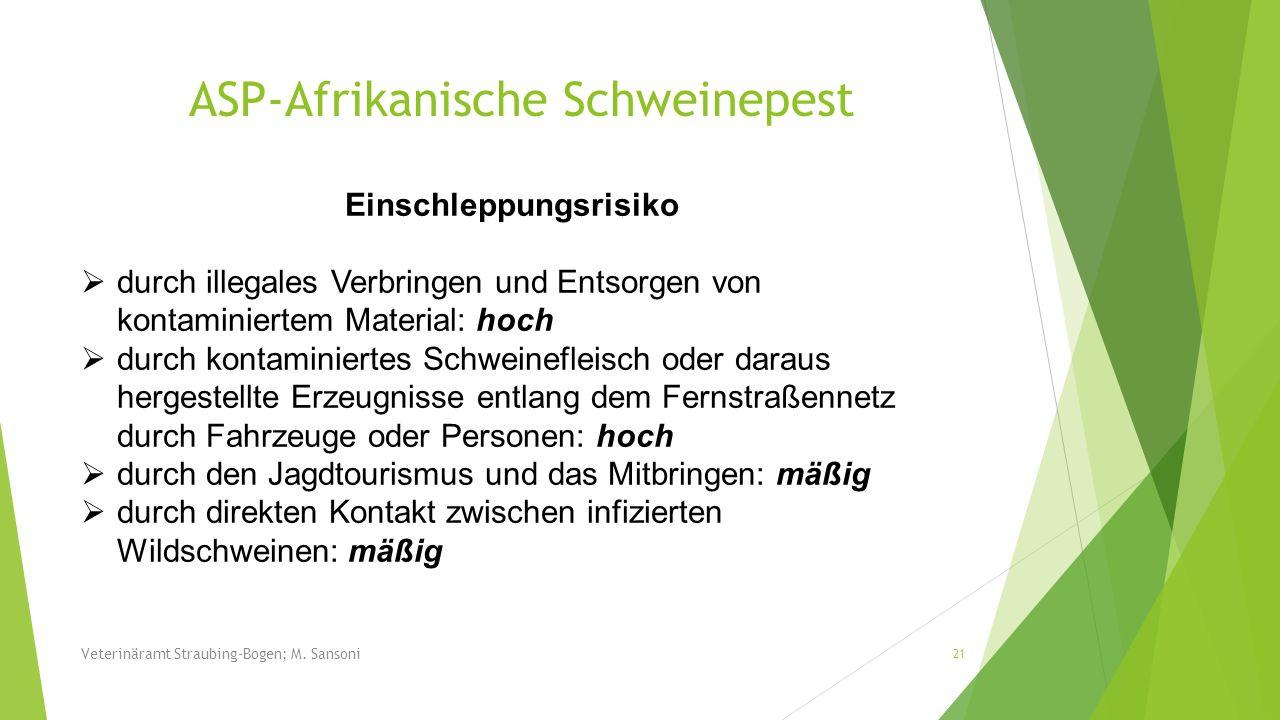 Veterinäramt Straubing-Bogen; M. Sansoni 21 Einschleppungsrisiko durch illegales Verbringen und Entsorgen von kontaminiertem Material: hoch durch kont