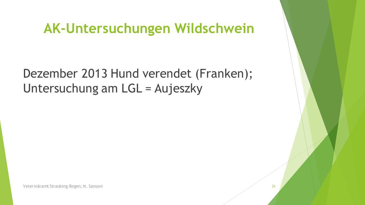 Dezember 2013 Hund verendet (Franken); Untersuchung am LGL = Aujeszky 26 Veterinäramt Straubing-Bogen; M. Sansoni AK-Untersuchungen Wildschwein