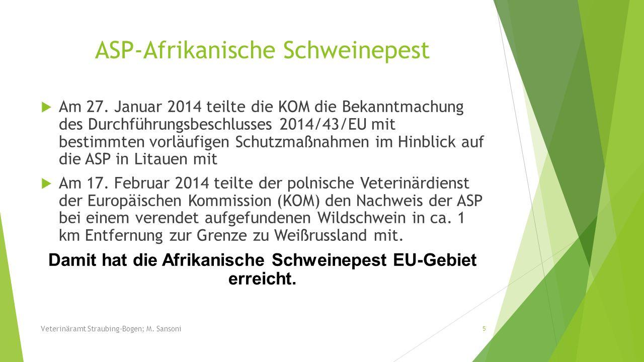Dezember 2013 Hund verendet (Franken); Untersuchung am LGL = Aujeszky 26 Veterinäramt Straubing-Bogen; M.