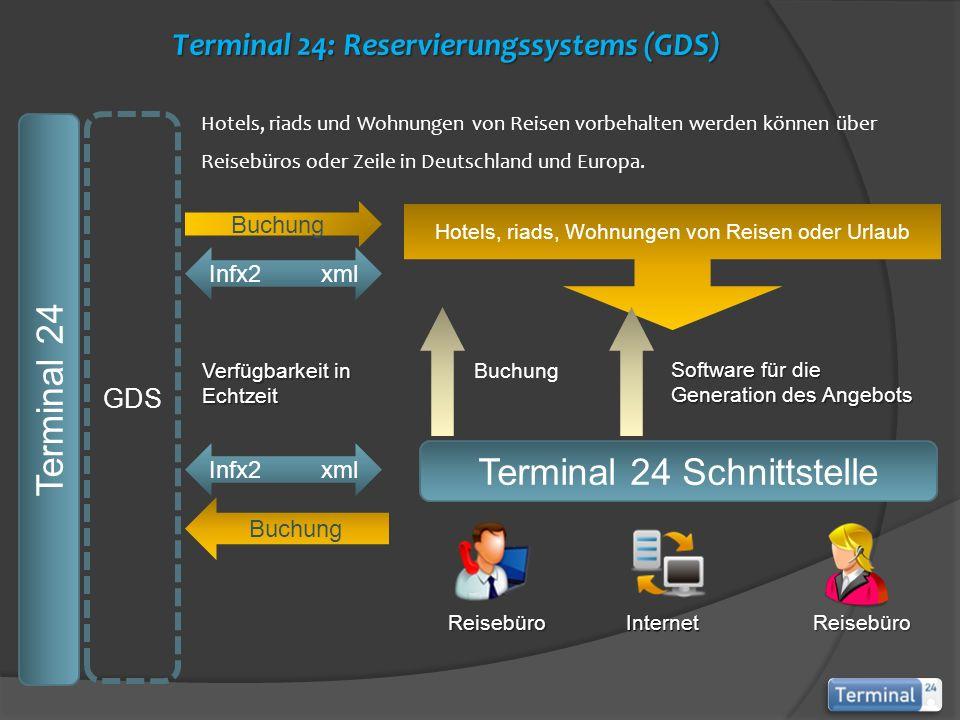 Hotels, riads, Wohnungen von Reisen oder Urlaub Terminal 24 Schnittstelle Terminal 24 GDS Buchung Infx2 xml Buchung Hotels, riads und Wohnungen von Reisen vorbehalten werden können über Reisebüros oder Zeile in Deutschland und Europa.