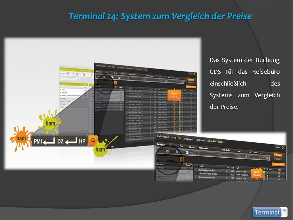Das System der Buchung GDS für das Reisebüro einschließlich des Systems zum Vergleich der Preise. Terminal 24: System zum Vergleich der Preise Termina