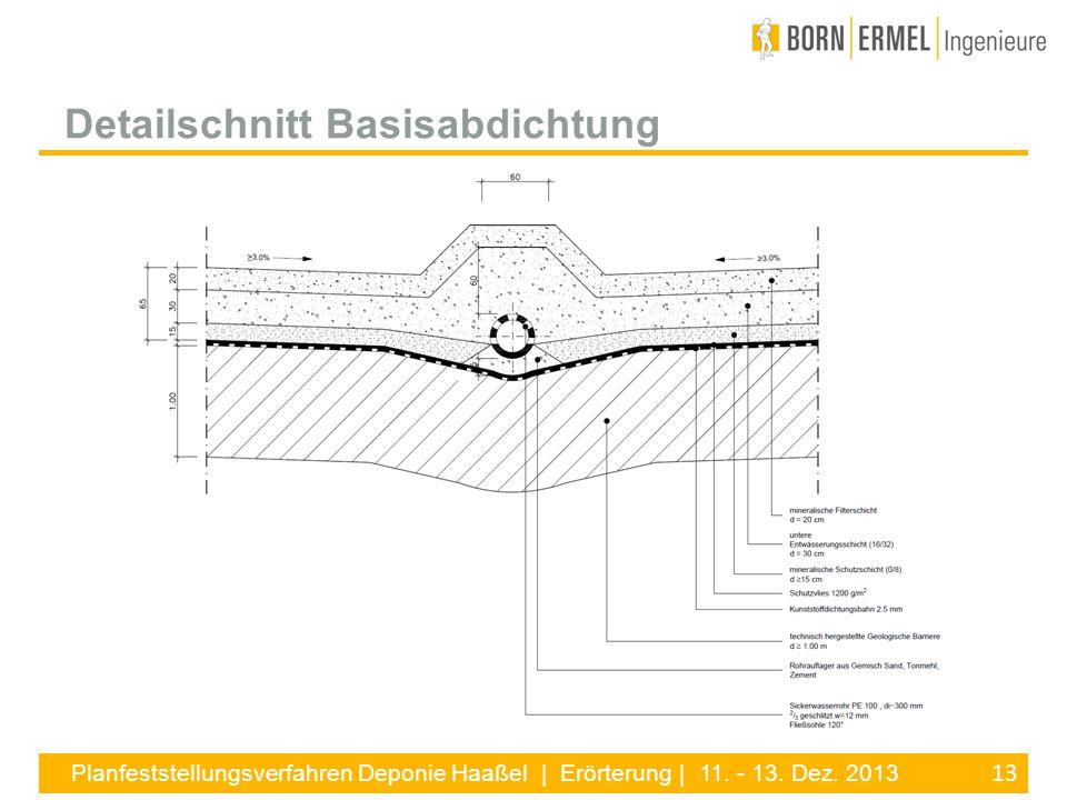 13 Planfeststellungsverfahren Deponie Haaßel | Erörterung | 11. - 13. Dez. 2013 Detailschnitt Basisabdichtung