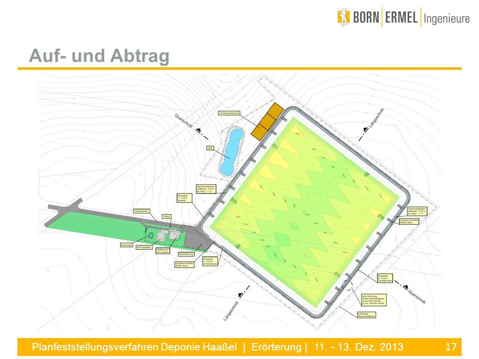 17 Planfeststellungsverfahren Deponie Haaßel | Erörterung | 11. - 13. Dez. 2013 Auf- und Abtrag