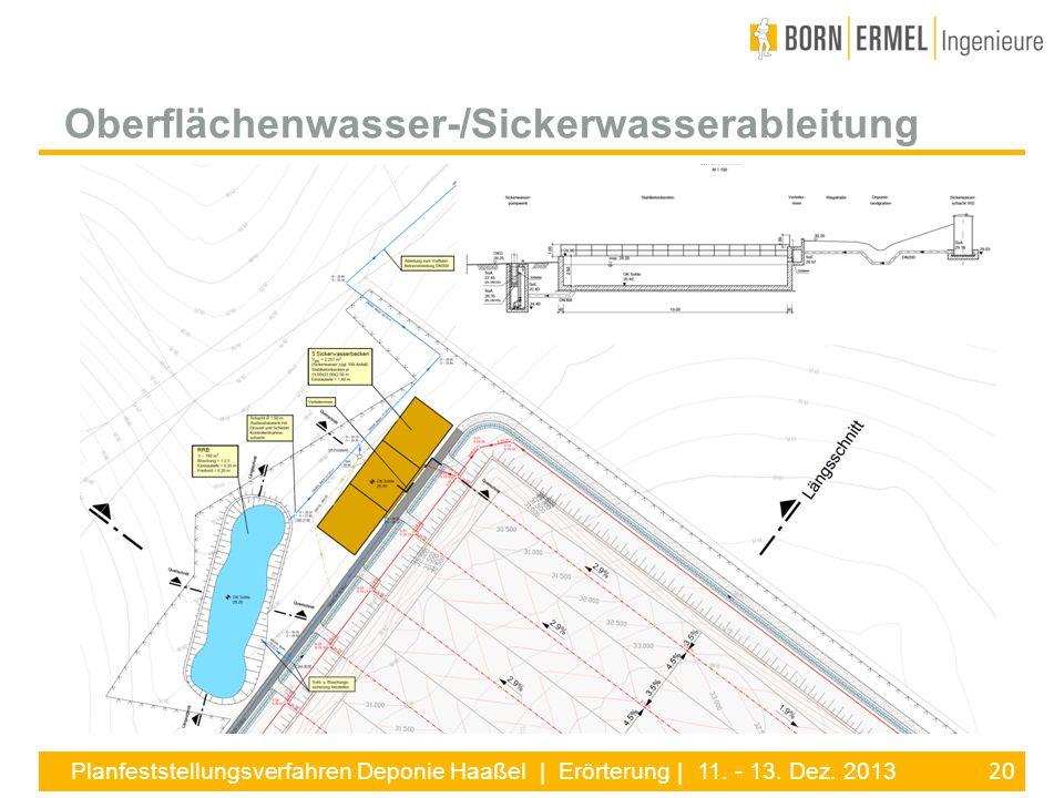 20 Planfeststellungsverfahren Deponie Haaßel | Erörterung | 11. - 13. Dez. 2013 Oberflächenwasser-/Sickerwasserableitung