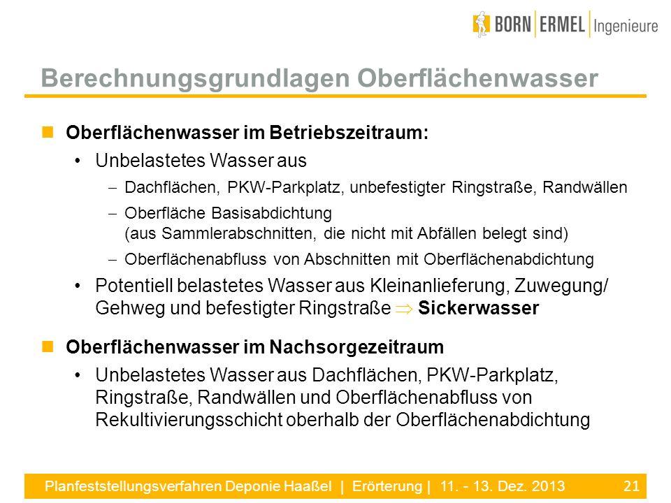 21 Planfeststellungsverfahren Deponie Haaßel | Erörterung | 11. - 13. Dez. 2013 Oberflächenwasser im Betriebszeitraum: Unbelastetes Wasser aus Dachflä