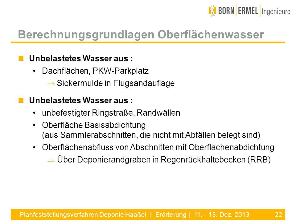 22 Planfeststellungsverfahren Deponie Haaßel | Erörterung | 11. - 13. Dez. 2013 Unbelastetes Wasser aus : Dachflächen, PKW-Parkplatz Sickermulde in Fl