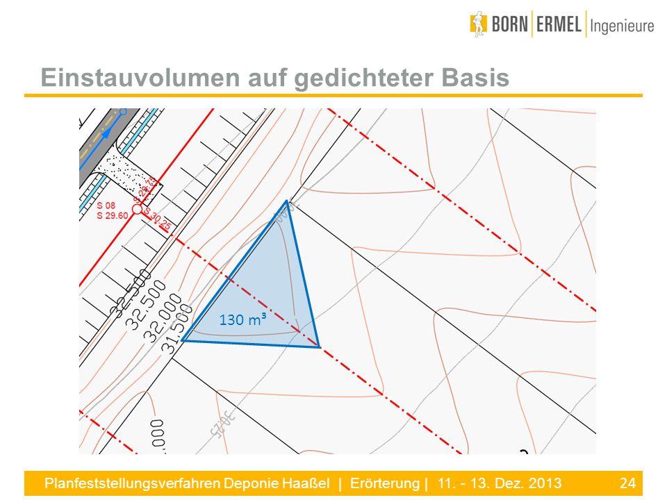 24 Planfeststellungsverfahren Deponie Haaßel | Erörterung | 11. - 13. Dez. 2013 Einstauvolumen auf gedichteter Basis 130 m³