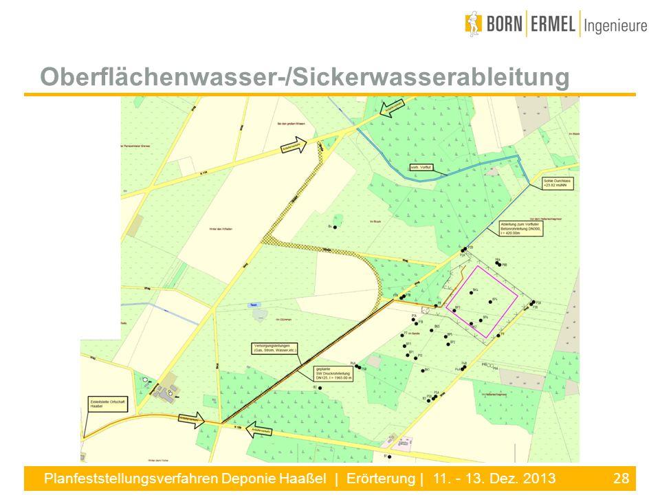 28 Planfeststellungsverfahren Deponie Haaßel | Erörterung | 11. - 13. Dez. 2013 Oberflächenwasser-/Sickerwasserableitung