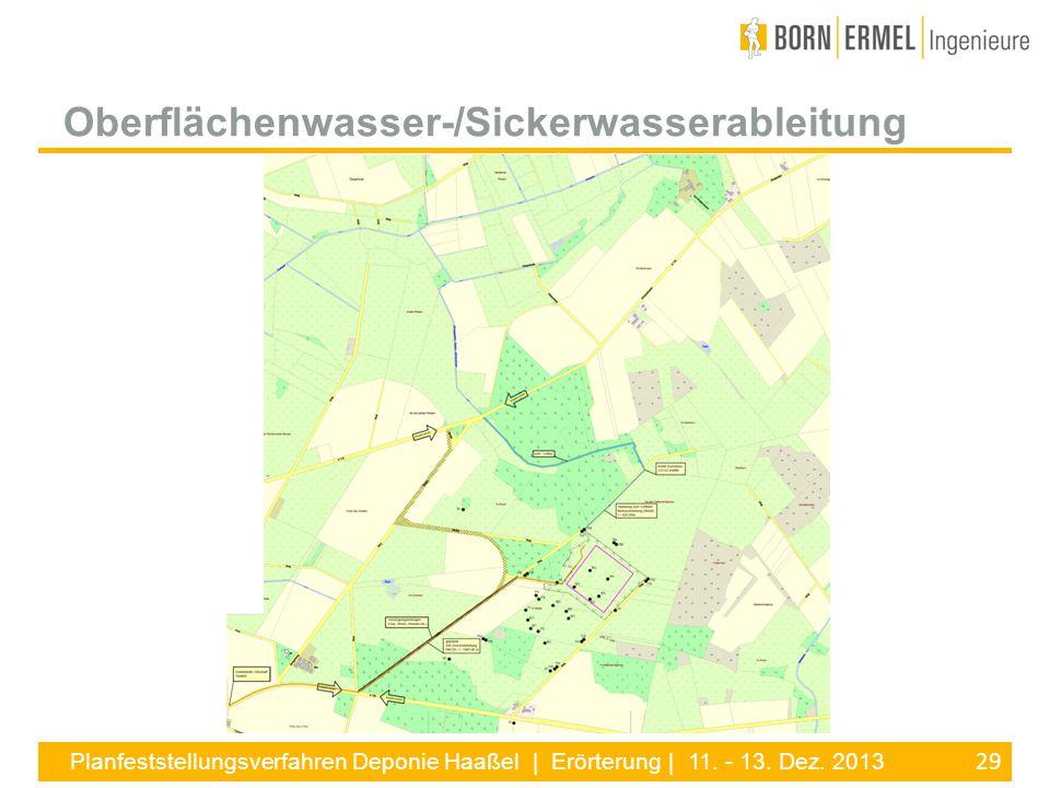 29 Planfeststellungsverfahren Deponie Haaßel | Erörterung | 11. - 13. Dez. 2013 Oberflächenwasser-/Sickerwasserableitung