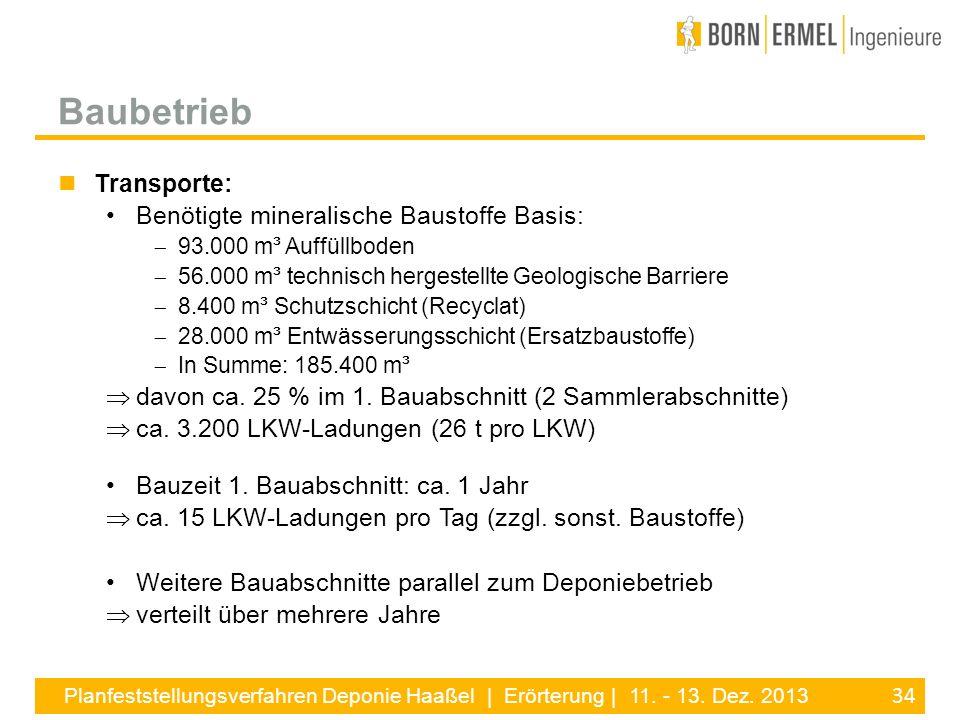 34 Planfeststellungsverfahren Deponie Haaßel | Erörterung | 11. - 13. Dez. 2013 Transporte: Benötigte mineralische Baustoffe Basis: 93.000 m³ Auffüllb
