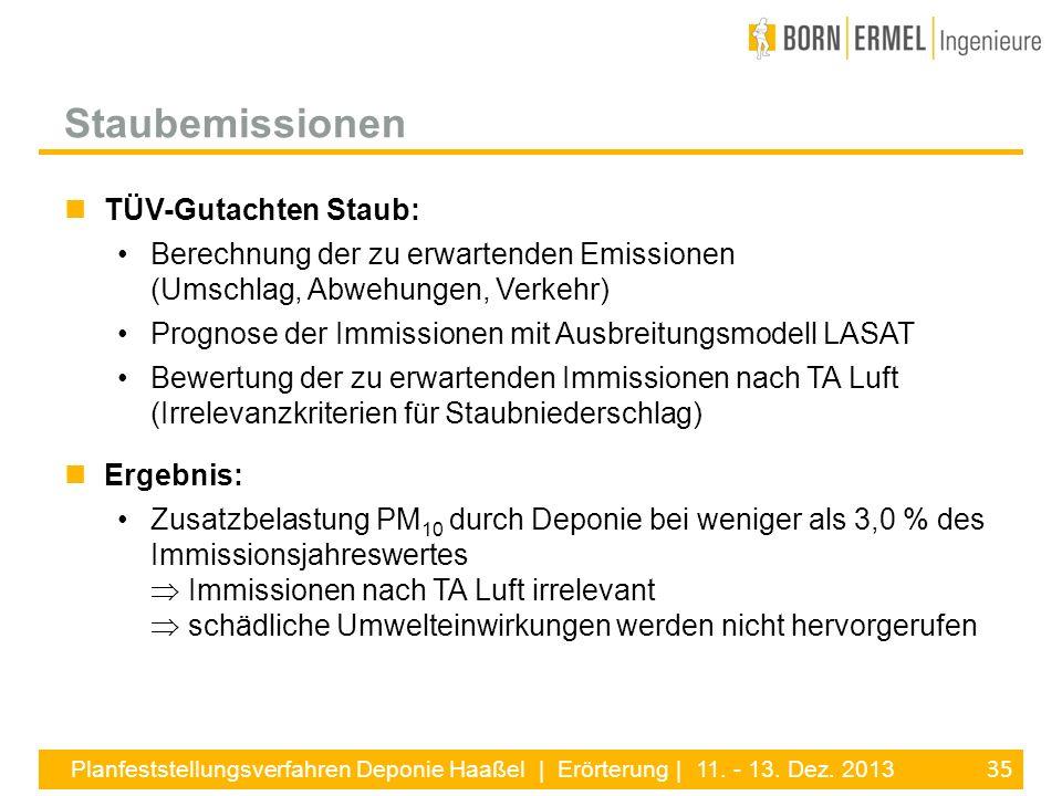 35 Planfeststellungsverfahren Deponie Haaßel | Erörterung | 11. - 13. Dez. 2013 TÜV-Gutachten Staub: Berechnung der zu erwartenden Emissionen (Umschla