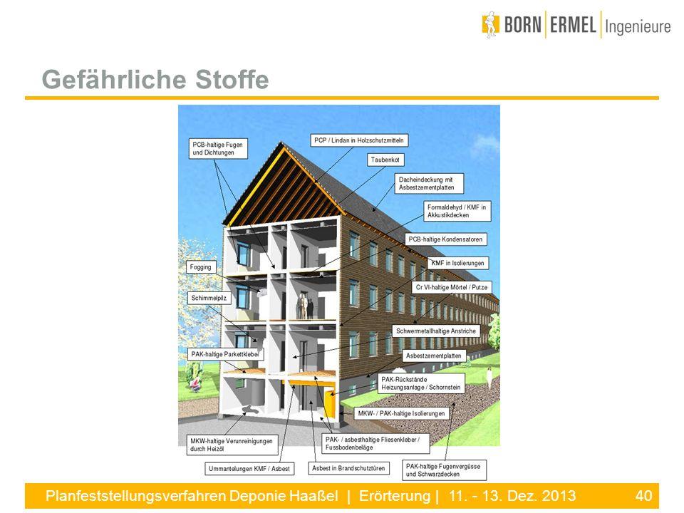 40 Planfeststellungsverfahren Deponie Haaßel | Erörterung | 11. - 13. Dez. 2013 Gefährliche Stoffe